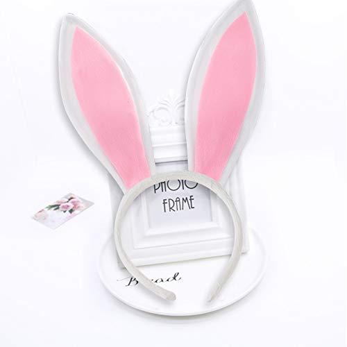 Plush Bunny Ears, 3PCS Rabbit Ear Headbands Halloween Cosplay, White + Pink, 13.6Inch