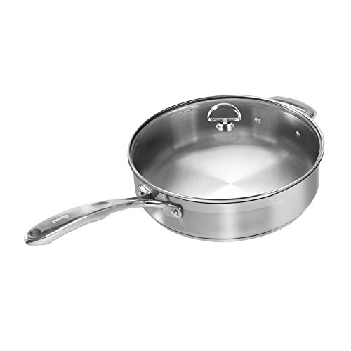 (Chantal SLIN34-280 Induction 21 Steel Saute Skillet with Glass Tempered Lid (5-Quart))