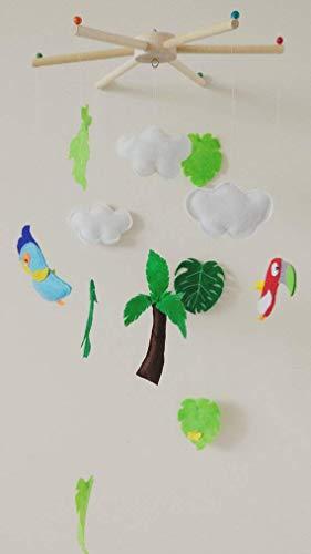 - Tropical felt mobile, jungle mobile, baby mobile, tropical nursery, botanical nursery, palm tree mobile, monstera leaves, baby shower gift