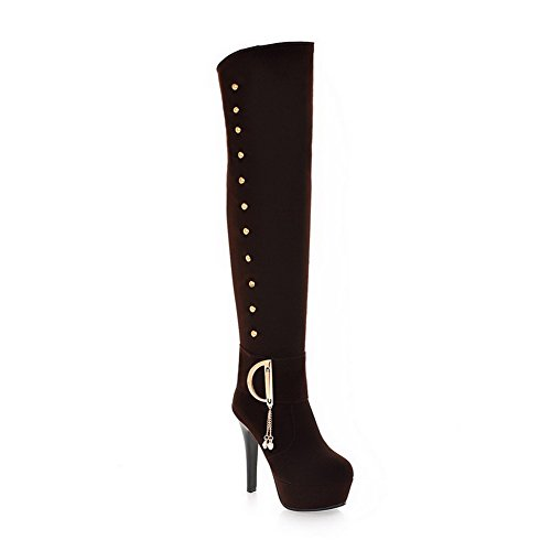 US 5 Stiletto Hollow Closed with and Boots Plush Out Frost M B Toe Round 6 Womens Solid Short Brown PU AmoonyFashion TPwRqR