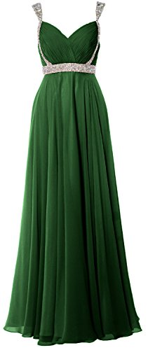 MACloth Women Straps V Neck Chiffon Long Prom Dress 2017 Evening Formal Gown Verde Oscuro