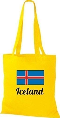shirtinstyle Tela Bolsa Algodón länderjute Iceland island - fucsia, 38 cm x 42 cm amarillo