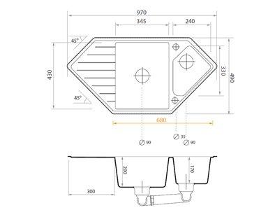 1.5-Becken Siphon Armatur 5000 Schrankbreite ab 80 cm Hochdruck Sp/ülbecken K/üchensp/üle Granitsp/üle beige Drehexcenter