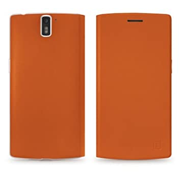 release date 605d8 b81ca CellularMania OnePlus One Flip Cover Leather Orange: Amazon.co.uk ...