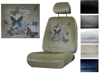 Seat Cover Connection Butterfly With Floral Print 2 Low Back Bucket Car Truck SUV Covers