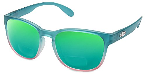 Suncloud Loveseat Polarized Bi-Focal Reading Sunglasses in Aqua Pink Fade/Green Mirror Lens +1.25 by Suncloud (Image #1)