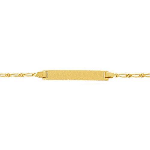 So Chic Bijoux © Bracelet Gourmette Identité Enfant 14 cm - Or Jaune 375/000 (9 carats) 1,15gr - Plaque Rectangle Maille Gourmette Cheval Alternée 1.1 - Personnalisable : Gravure offerte