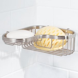Ginger 504L/PBPVD Splashables Brass Wall Mounted Wire Corner Basket, PVD Polished Brass