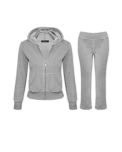 - Shelikes Girls Kids Velour Velvet Zip Hoodie Pants Tracksuit Sport Sweat Suit Set (Grey, Age 9/10)