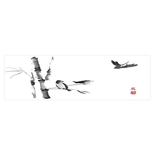 Dragonhome Background Fish Tank Sticker Two Birds sitt Bamboo Tree Branch and Third Flies and Ink in Aquarium Sticker Wallpaper Decoration L35.4 x H19.6 (Tiles Ink)