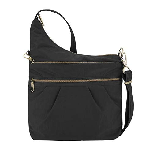 Travelon: Anti-Theft Signature 3 Compartment Nylon Crossbody Bag - Black