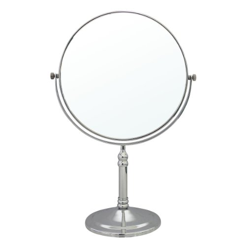 2 Polished Brass Vanities (MODONA 8-Inch Two-Sided 1X and 5X Tabletop Vanity Mirror, Made of Brass-Polished Chrome)