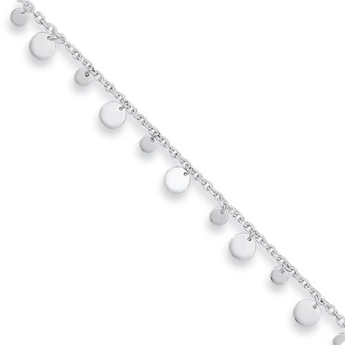 ICE CARATS 925 Sterling Silver Dangling Circle Anklet Ankle Beach Chain Bracelet Fine Jewelry Gift Set For Women (Dangling Silver Bracelet)