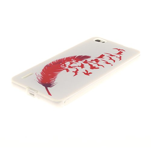 Bord Protection feather Huawei Transparent Cas Peint Scratch Résistant Antichoc TPU Slim 6 Motif Honor Red Arrière De Hozor Souple En Fit Couverture Silicone Téléphone De Cas 14qBqw