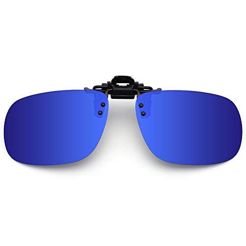 SUNINC Clip On Sunglasses Over Prescription Glasses Polarized Lens Flip Up Shades Driving Sunglasses for Men Women Deep Blue Lens Medium ()