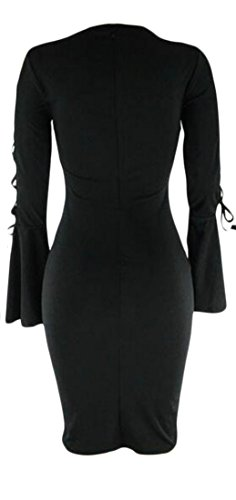 Cromoncent Femmes Lacer Manches Flare Robe Moulante Solide Midi Crayon Noir