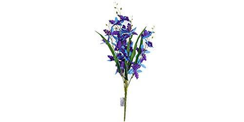 (Smart Sense Set of 4 Artificial Purple 21 inch Dancing Lady Orchid Liquid Illusion Silk Flower Arrangement In Single Stem(4 pc, Purple))
