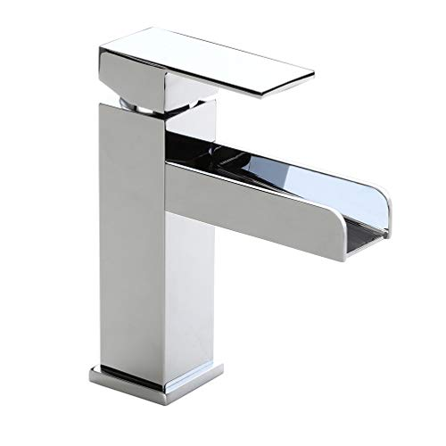 Homary Modern Waterfall Spout Bathroom Vanity Sink Faucet Single Lever Handle One Hole cUPC Certified Lead Free Polished Chrome Finish Deck Mount Bathroom Sink Faucet with Pop Up Drain