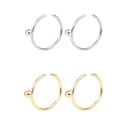 DRW 2-6pcs 22G Stainless Steel Non Pierced Clip on Closure Round Ring Fake Nose Lip Helix Cartilage Tragus Ear Hoop Piercing Body Jewelry 8mm