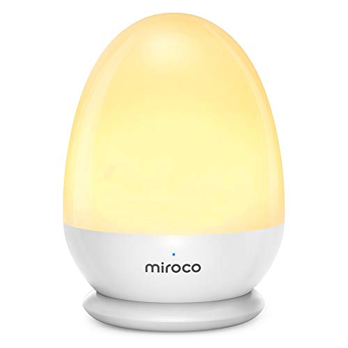Miroco Night Lights for Kids, LED Bedside Lamp for Baby Breastfeeding 100% Toddler Safe, Touch Lamp with USB and Stable Charging Pad, Dim Nursery Lamp Warm Night Light, Soft Eye Caring, Timer Setting ()
