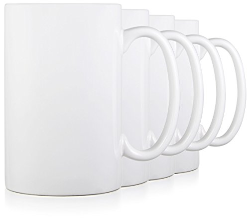 Serami 17oz White Classic Tall Mugs for Coffee or Tea. Large Handles and Ceramic Construction, Set of 4 (Mug White Classic Coffee)