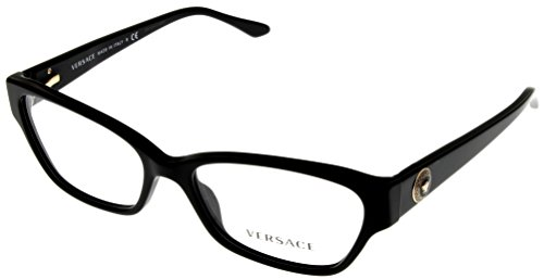 Versace Women Eyeglasses Designer Black Retangular VE3172 - Frames Versace Cheap Eyeglass