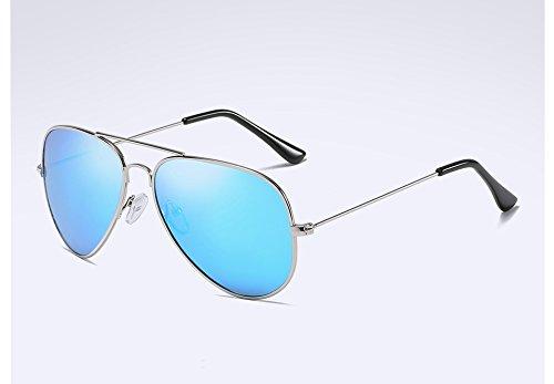 Sunglasses Lunettes Polarisée Lunettes dans Retour Lunettes silver Soleil l'alliage Guide Hommes de blue UV400 TL Twqd1q