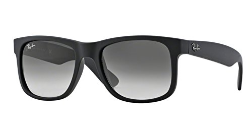 Ray-Ban Men's 0RB4165 Justin Non-Polarized Sunglasses, Black Rubber, 55mm (Rubber Black, Gray - Ray Classic Ban Justin