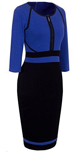 Career Women's Blue B235 Vintage Bodycon HOMEYEE Colorblock Dress dt1Z1q