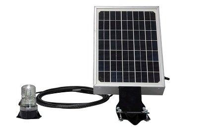 Larson Electronics 0321OXAO21Y Solar Powered LED Beacon - 3W LED Beacon - Continuous Use(-Surface Mount-White)