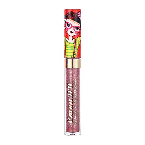 Diamond Glitter Lip Gloss-Beautiful Girl Color Changing Matte Lipstick 5g,Waterproof Non-stick Cup Long Lasting Lipstick 5g (#9)
