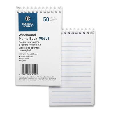 Business Source Products - Wirebound Memo Book, End Spiral, 50 Sheets, 3amp;quot;x5amp;quot;, 12/PK, White - Sold as 1 PK - Wirebound Memo Book features a rigid chipboard cover, wire binding at the top, and white paper with narrow faint blue 1/4amp;quot; ruling. Book has 50 sheets. ()