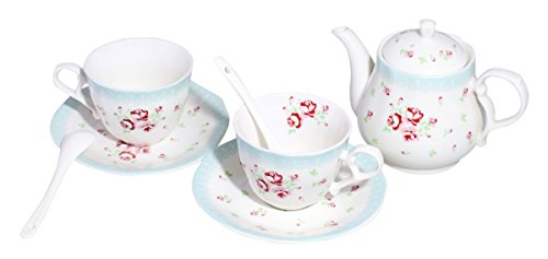 JustNile Beautiful English Red and Pink Floral & Blue Lace Design Tea Service Teapot Set with Two Cups and a Strainer