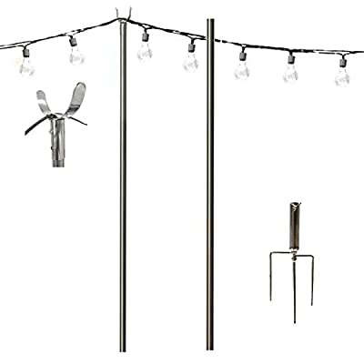 TALITARE Outdoor Pole 11-Feet Rust-Proof Stainless Steel Light Tripod for Patio Garden Patio Residential Cafe Wedding LED or Hanging lamp Solar Light Bulb