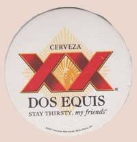 Cuauhtemoc Moctezuma Brewery Dos Equis XX Paperboard Coasters - Set of 6 Coasters - Two Each of 3 Different Designs