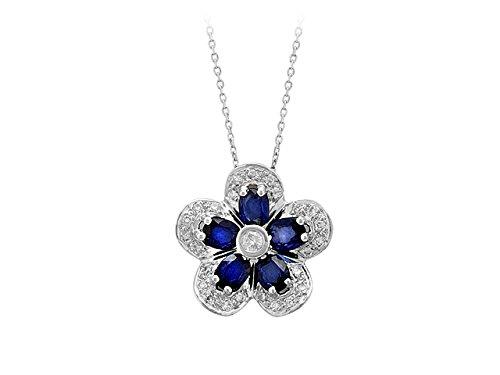 Birgie Diamants et Bijoux - Pendentif Saphir Violet Ovale et Diamants-Femme- or Blanc 201P0004