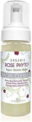 Organic Rose Face Wash Peak Scents Phtyo3 Anti-Aging Facial Cleanser With Rose and acaí Stem Cells - 5 Ounces