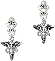 Physical Therapy Caduceus - Filigree Heart Earrings