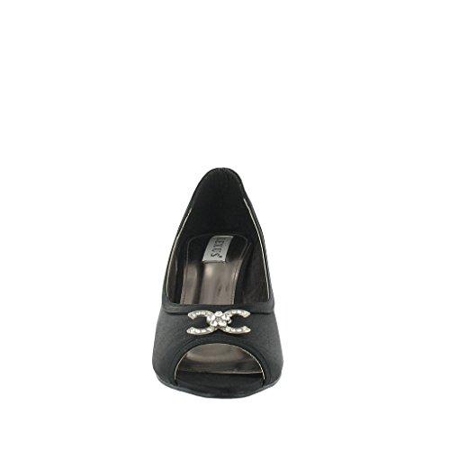 with Ladies Diamante Black Shoe Lexus Court Peep Medium Toe Heel Trim 0Aw0RHq