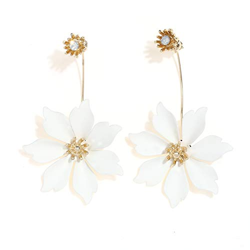 Boho Stud Earrings for Women - Chic Flower Statement Earrings with Gold Flower Bud, Great for Sister, Mom, Lover and Friends (Crystal White)