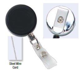 Heavy Duty Metal Badge Reel - Chromed - Belt Clip - Steel Wire cord - Reinforced vinyl strap (100pk)