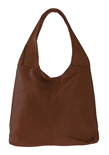 41x55x12cm à cuir in CTM bandoulière 100 main Dark Brown Italy véritable la dans éclair à Made fermeture femme sac en sac qOwXPwB
