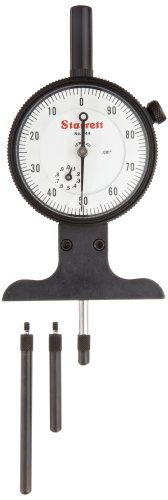 "Starrett 644JZ 644 Series Dial Depth Gauge, Indicator Type, 0-3"" Range, 0.001"" Graduation, With Case, 1 GRAD for first 2 ½  REVS Accuracy"