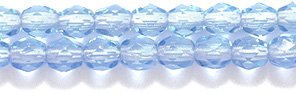 Preciosa Czech 3-mm Fire-Polished Glass Bead, Faceted Round, Transparent Sapphire, 400/pack