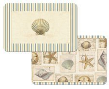 Set-of-4-Shell-Collage-Reversible-Placemats-Starfish-and-Shell-Theme-Placemats-Reversible-Washable-Plastic-by-CounterArt