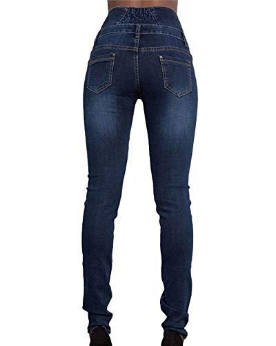 Bolsillos Sólido Lápiz Mezclilla Alta Stretch Cintura Solo Mujer Vaqueros Huixin Dunkelblau Pitillo Pantalones Botonadura De Con Elásticos Color nwvZS71v