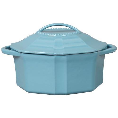 Isaac Mizrahi Isaac Mizrahi Bella Chic Oval Casserole and Lid, 4-Quart, Turquoise