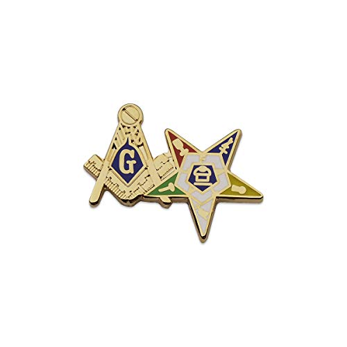 Square & Compass and Order of The Eastern Star Gold Masonic Lapel Pin - 1