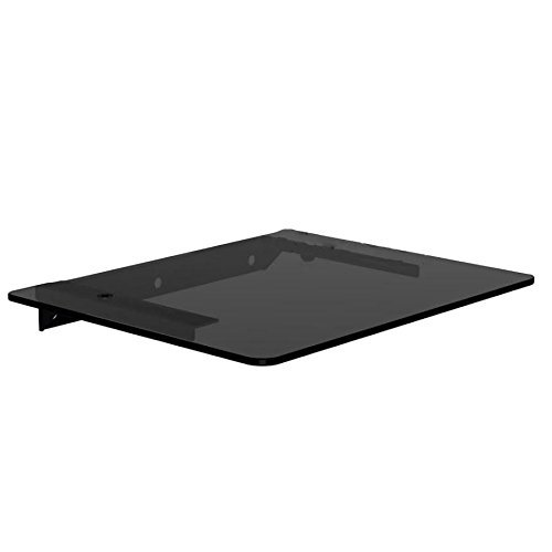 NDA-Electronics Glass Floating Wall Shelf Mount Black Glass