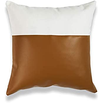 Amazon Com Hofdeco Faux Leather And 100 Cotton Pillow